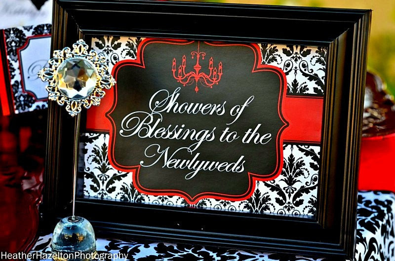BRIDAL SHOWER - SIGN - Black and Red Damask
