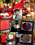 BRIDAL SHOWER - FOOD LABELS - Black and Red Damask- Red Wedding Shower