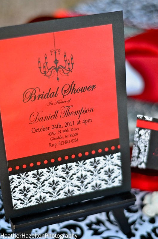 BRIDAL SHOWER - INVITATION- Black and Red Damask