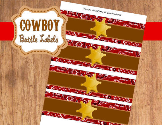 COWBOY Party- Horse- Red Cowboy Birthday- BOTTLE LABELS- Western Party