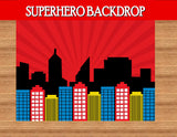 SUPERHERO Party- COMIC HERO Party- CITY SCAPE- Superhero Birthday - Superhero Backdrop