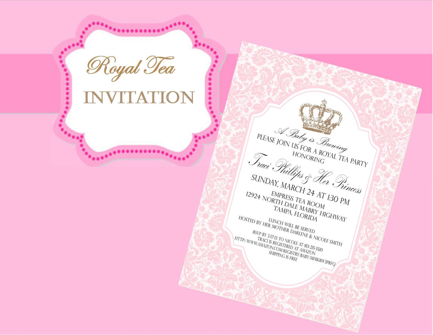 PINK ROYAL Tea INVITATION - Crown Invite - Pink Wedding