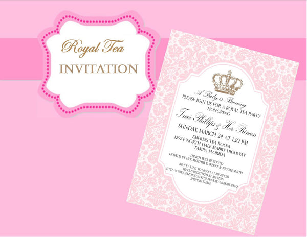 ROYAL TEA INVITATION - PINK Crown Invite - Pink Wedding