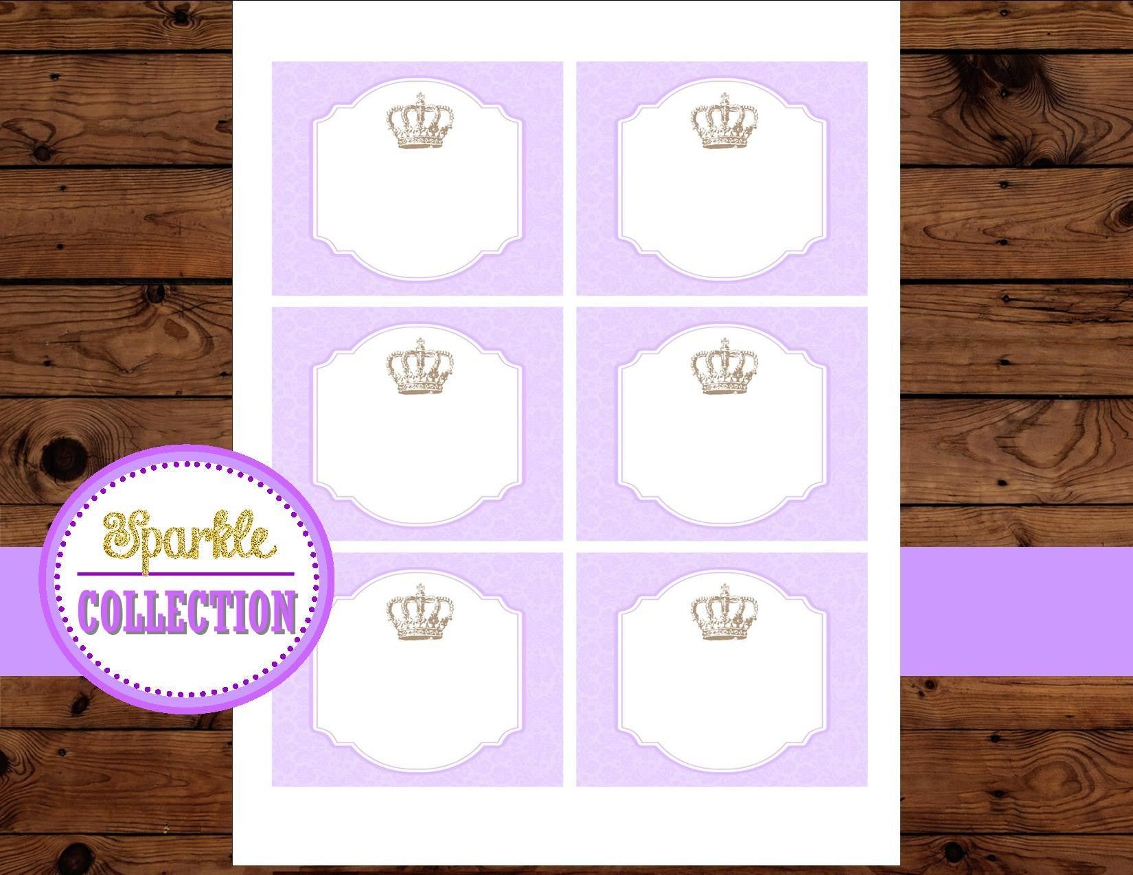 Princess Baby Shower - Purple Princess FOOD LABELS - Purple
