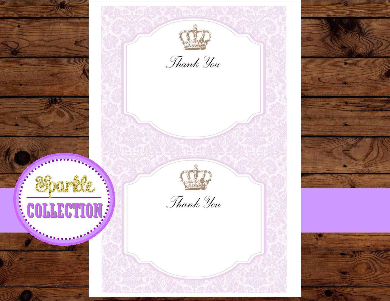 Princess THANK YOU CARD- Princess- Purple Shower - Baby Shower