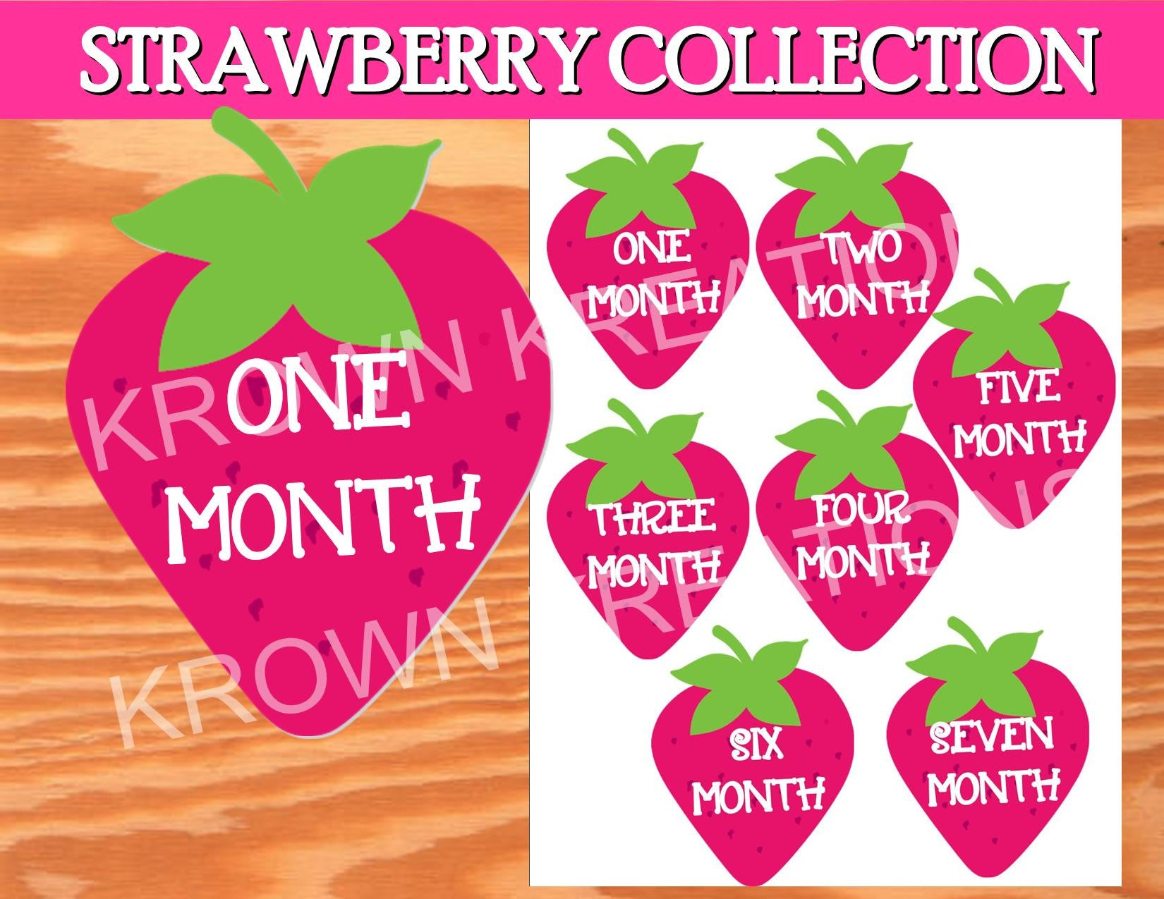 STRAWBERRY Party- Strawberry 12 MONTH Iron Ons- Monthly