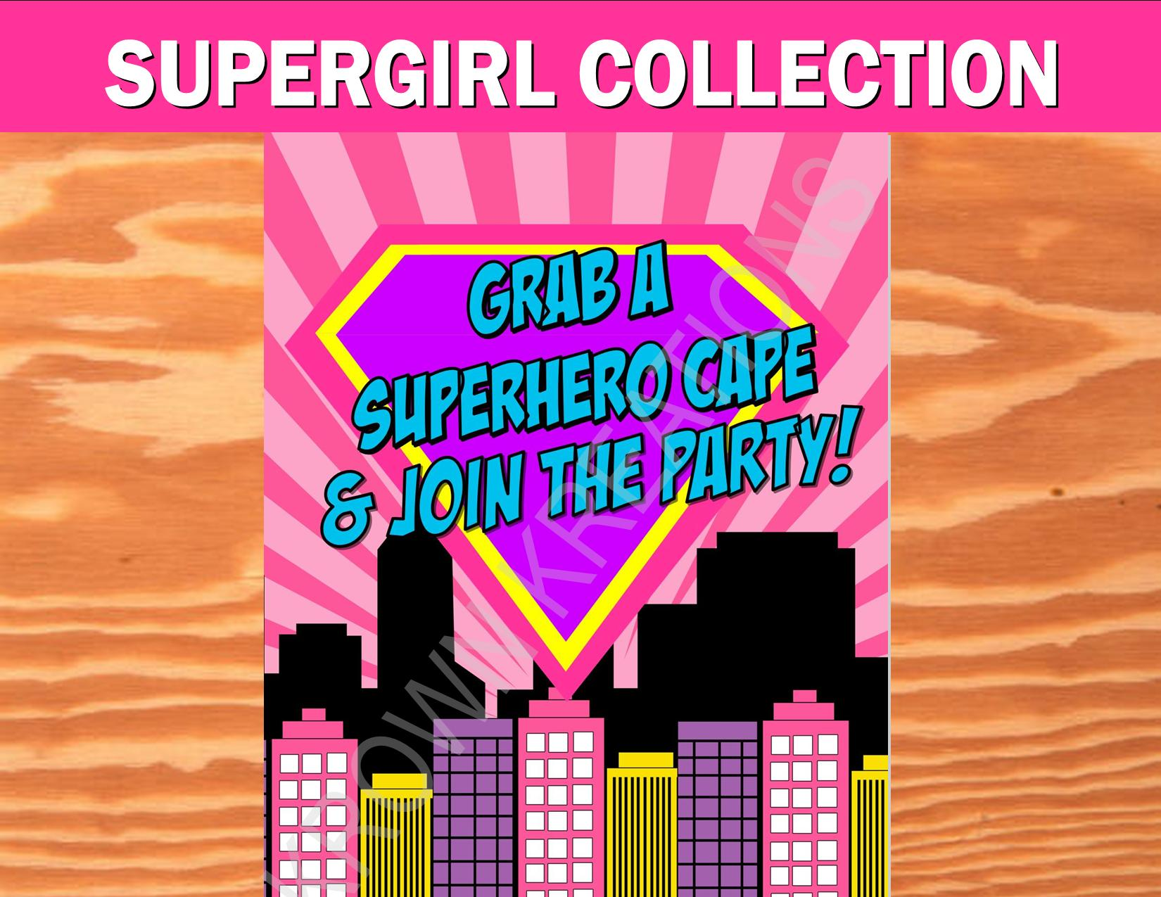 SUPERHERO Party- COMIC BOOK Party- SuperGIRL Birthday- Superhero SIGN