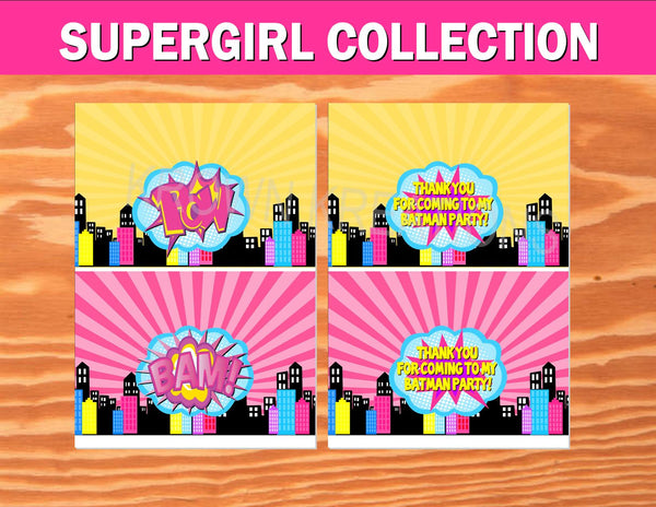 SUPERHERO Party- COMIC BOOK Party- SuperGIRL Birthday- Superhero FAVOR BOX LABEL