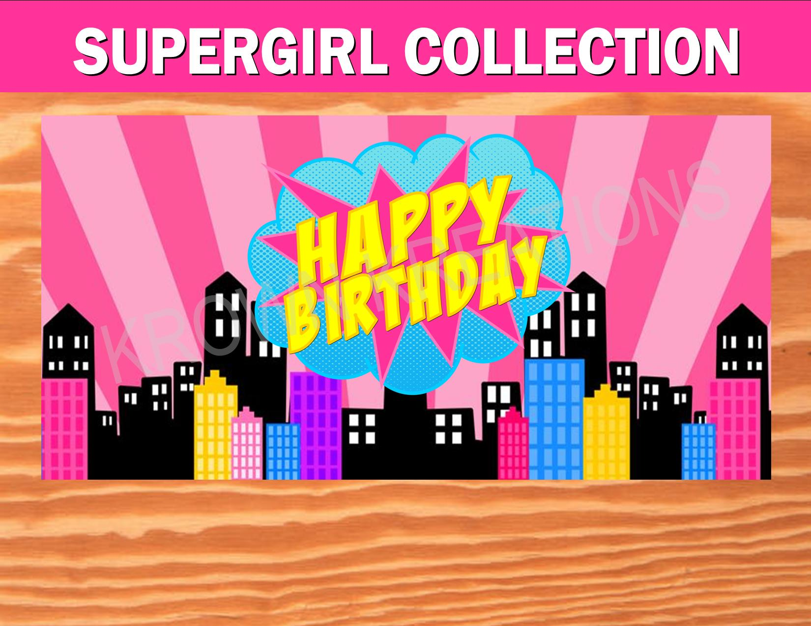 SUPERHERO PARTY - COMIC Party- CITYSCAPE- Superhero Birthday- Supergirl- Superhero BACKDROP