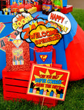 SUPERHERO Party - Superhero PARTY SIGN - Superhero Birthday Party - Comic Party