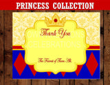 PRINCESS Party- THANK YOU CARD- Princess Birthday- Girl Party