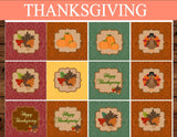 THANKSGIVING - CUPCAKE Toppers - Holidays - Sukkot Favor Tags - Pumpkin - Leaf - Fall Party - Turkey - Autumn Birthday - INSTANT DOWNLOAD