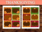 THANKSGIVING- FOOD LABELS - Holidays - Sukkot Favor Tags - Pumpkin - Leaf - Fall Party - Turkey - Autumn Birthday - INSTANT DOWNLOAD