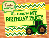 TRACTOR Party- Farm Party- Green Tractor Party- WELCOME SIGN