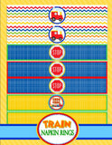 TRAIN Birthday Party - Red Engine- Train NAPKIN WRAPPERS - Train Party