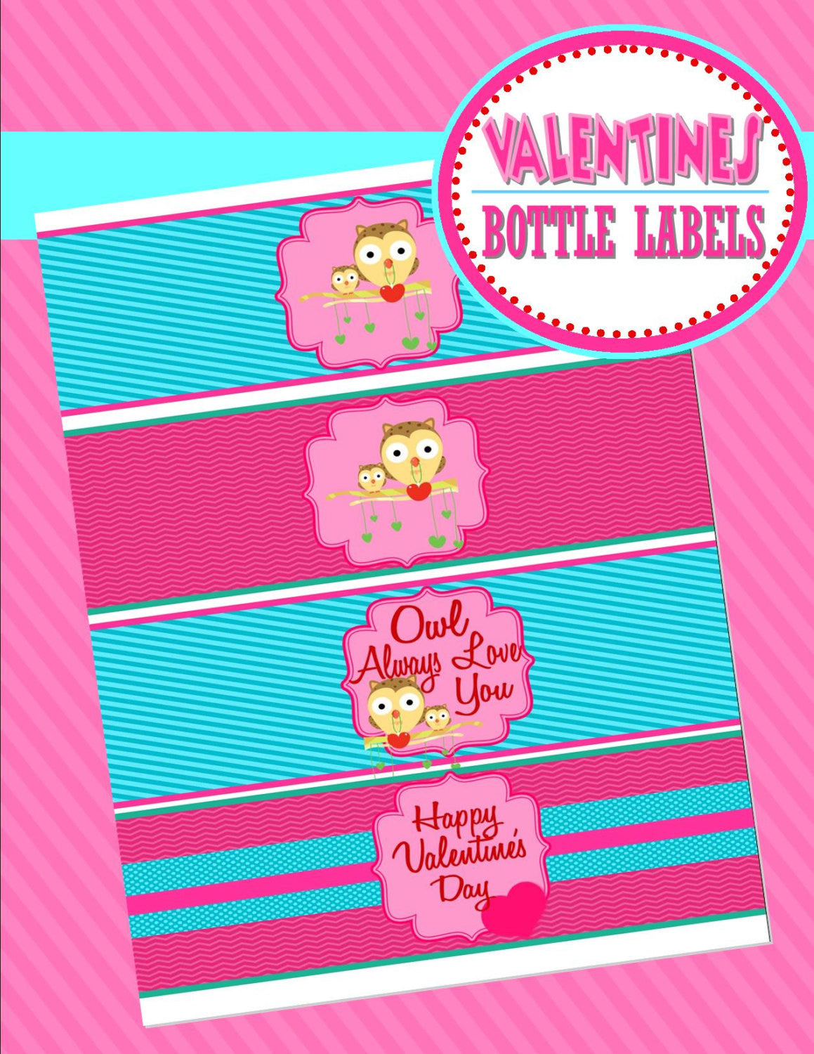 VALENTINES - Valentines Day - BOTTLE LABELS- Sweetheart Party - INSTANT Download