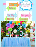 WONDERLAND Birthday Party- BANNERS- MAD HATTER Party