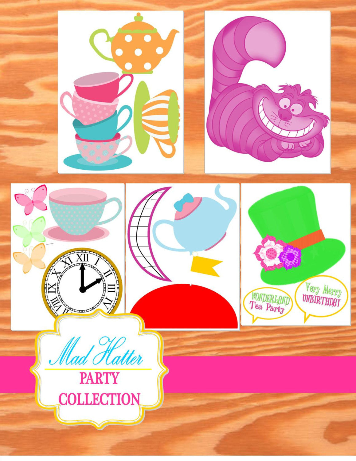 Wonderland birthday party alice in wonderland photo props for Mad hatter party props