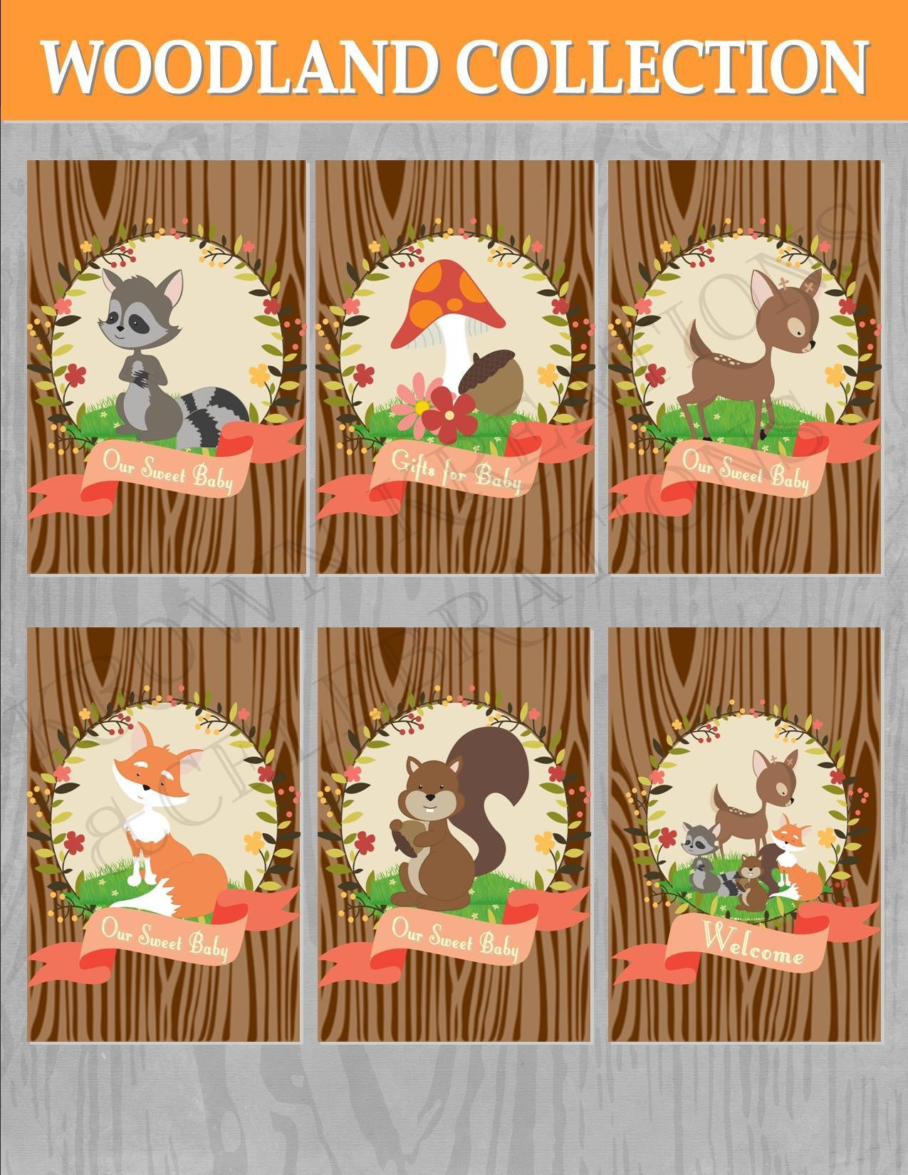 WOODLAND Party- Woodland Party Signs- SIGNS- Animal-Fox