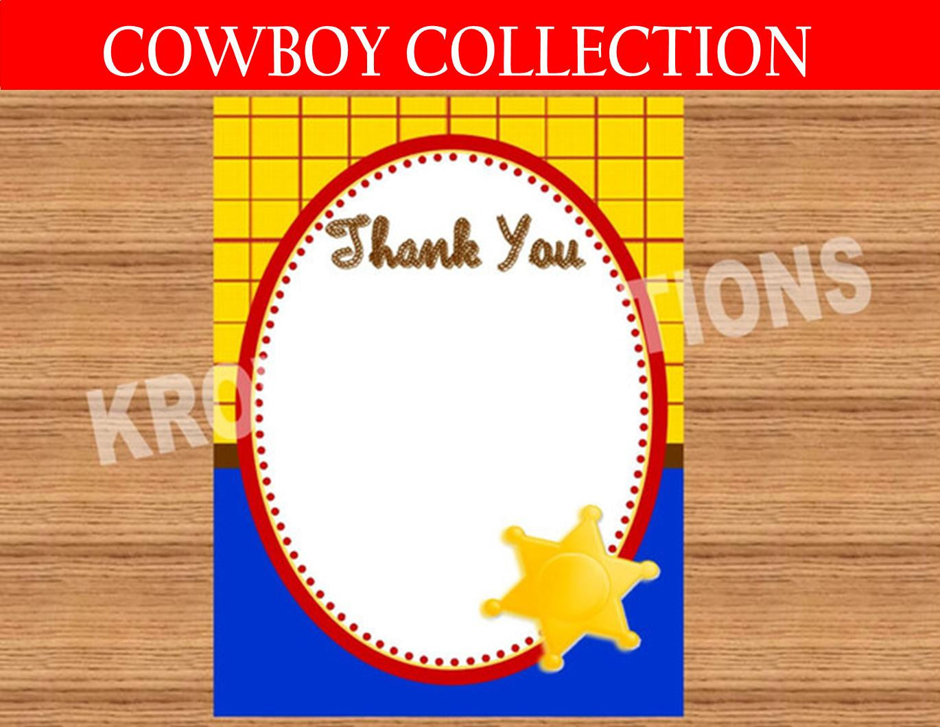 TOY Party - THANK YOU- COWBOY Birthday- Story Book
