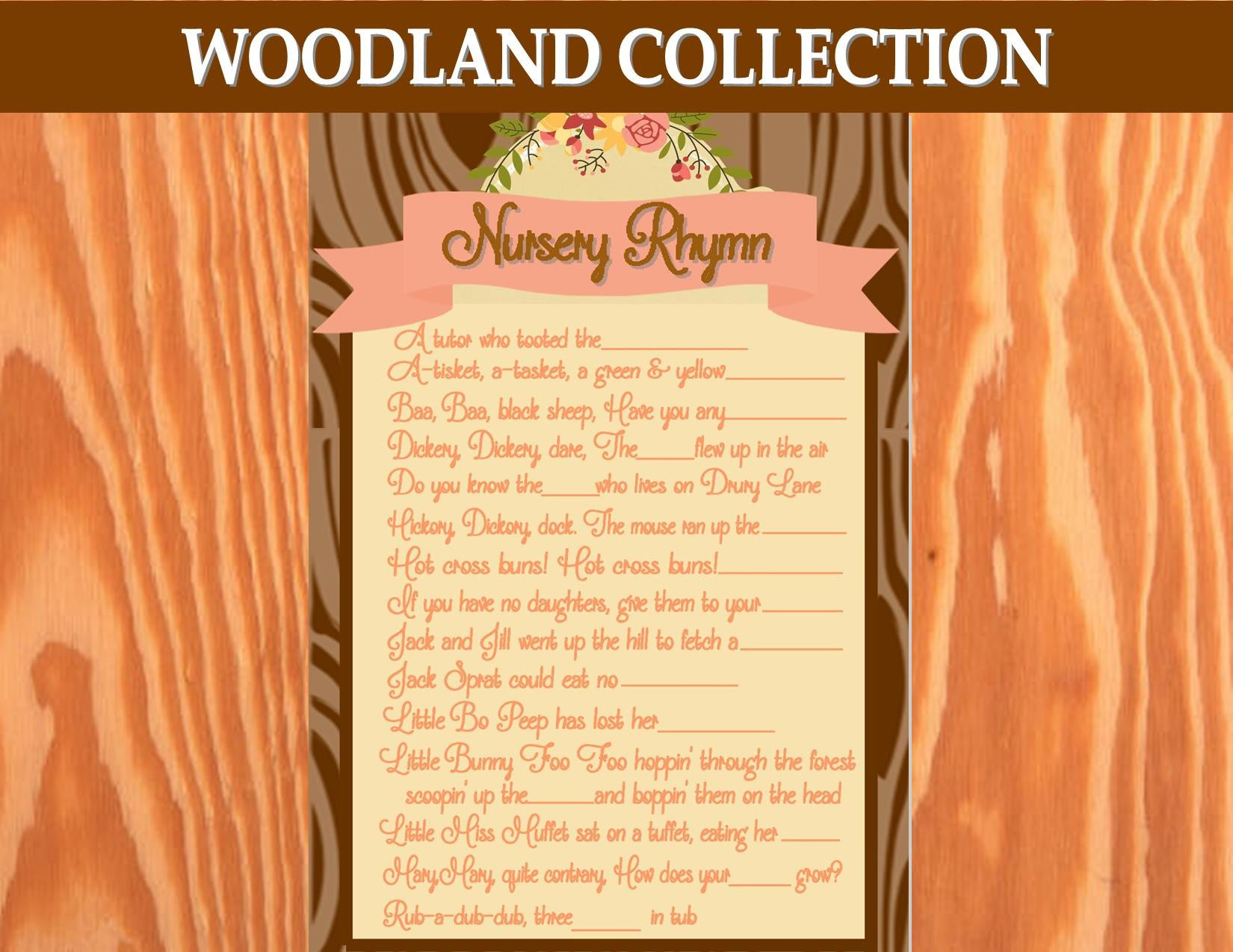 WOODLAND Party Printables - Woodland BABY SHOWER GAME