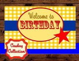 TOY Party - BACKDROP- COWBOY Birthday- Toy- Story Book