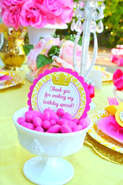 BELLE Party- PRINCESS PARTY- Princess THANK YOU Tags- Crown Party- Yellow
