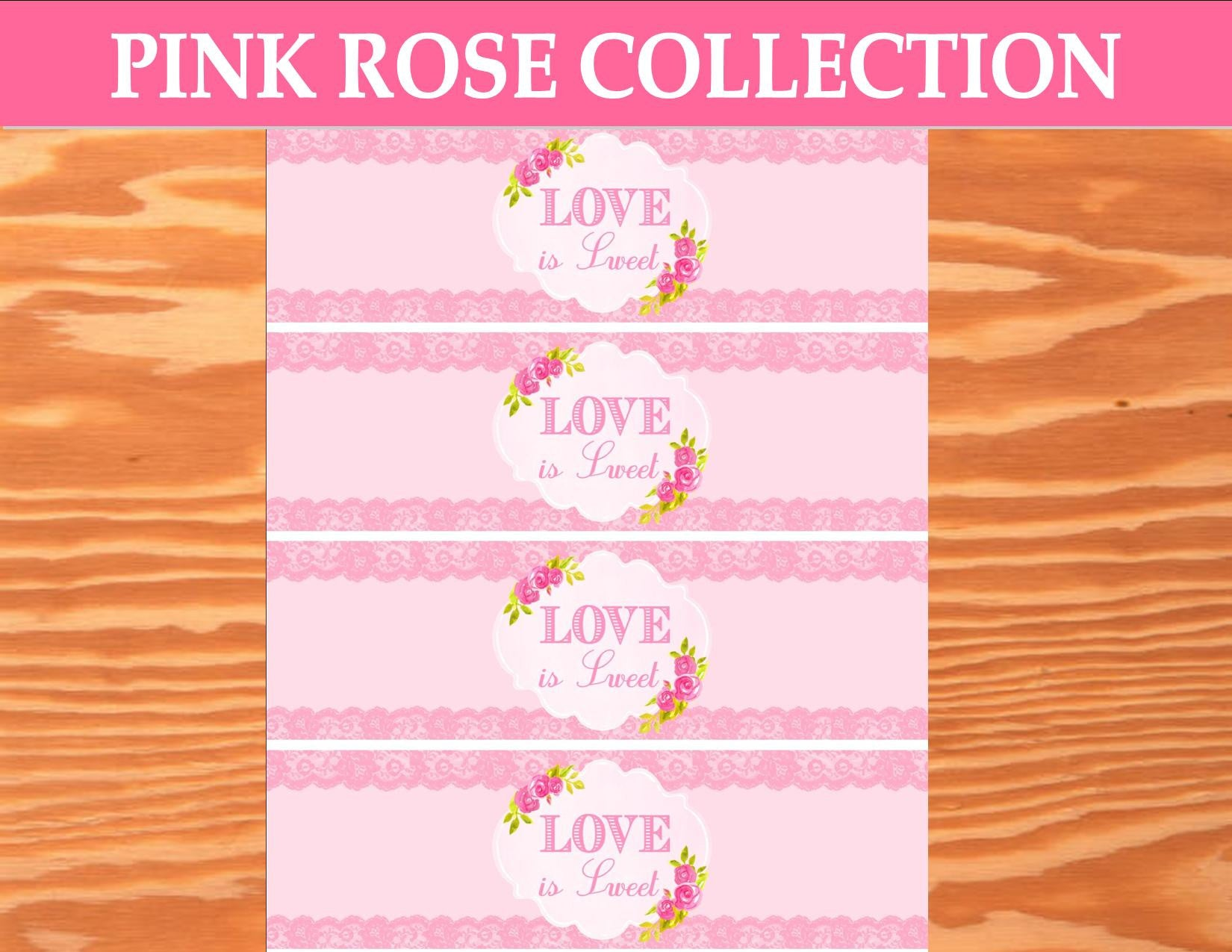 PINK BRIDAL SHOWER - Bridal BOTTLE LABELS - Rose