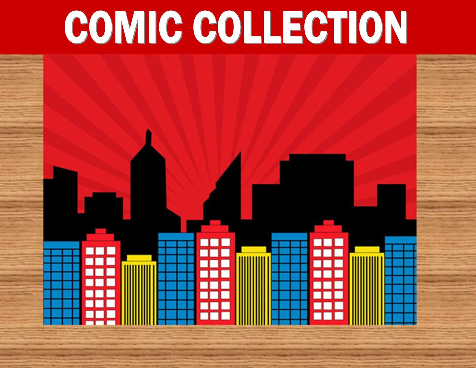 SUPERHERO Party- COMIC Hero Party- CITY SCAPE- Superhero Birthday- BACKDROP