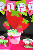 STRAWBERRY Birthday- Strawberry Centerpieces- Strawberry Party- BURSTS
