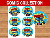 SUPERHERO Party- COMIC HERO Party- Superhero Birthday- Comic Book Party- CANDY LABELS