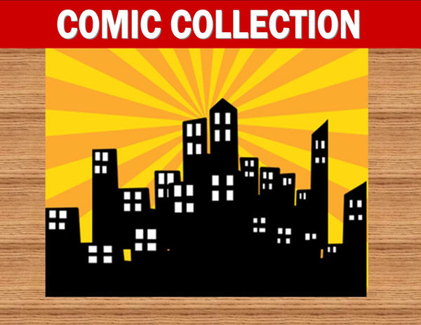 SUPERHERO PARTY - COMIC Hero Party- CITY SCAPE- Superhero Birthday- Superhero- BACKDROP