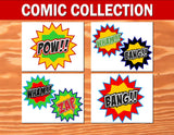SUPERHERO Party- COMIC Hero Party- Superhero Birthday- Comic BURSTS
