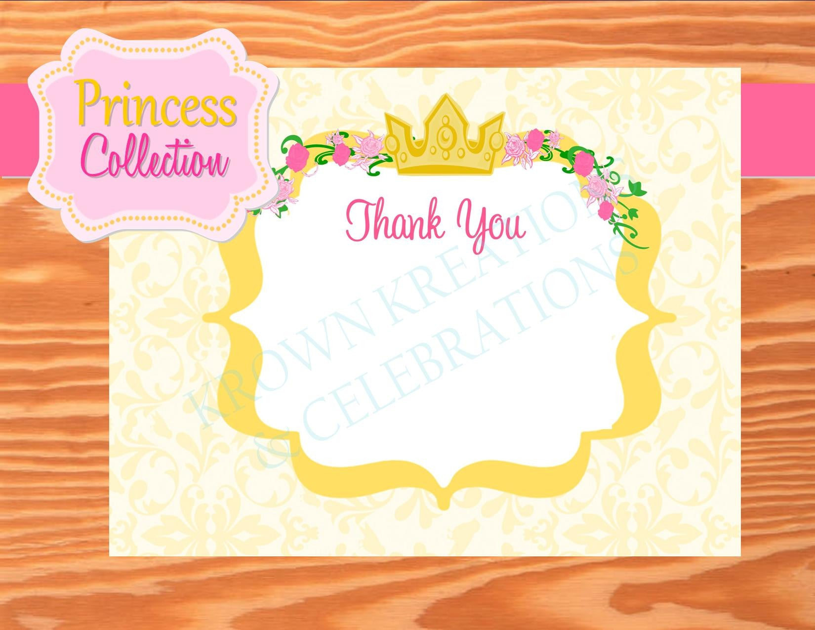 YELLOW PRINCESS PARTY - Princess THANK YOU - Princess Birthday Party - Princess Party