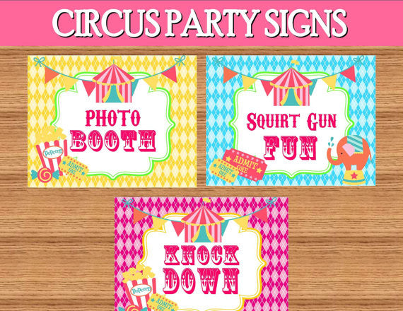 CIRCUS PARTY- CIRCUS Birthday Party- Girly Circus Party- Carnival - CIRCUS GAMES- Circus SIGNS