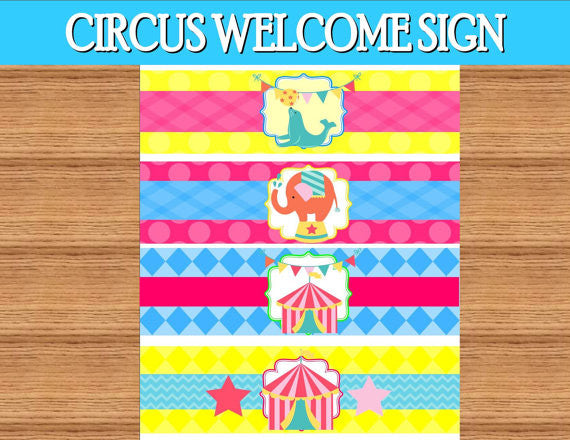 CIRCUS Birthday Party- Girly Circus- BOTTLE LABEL- CIRCUS PARTY- Bright Circus Party