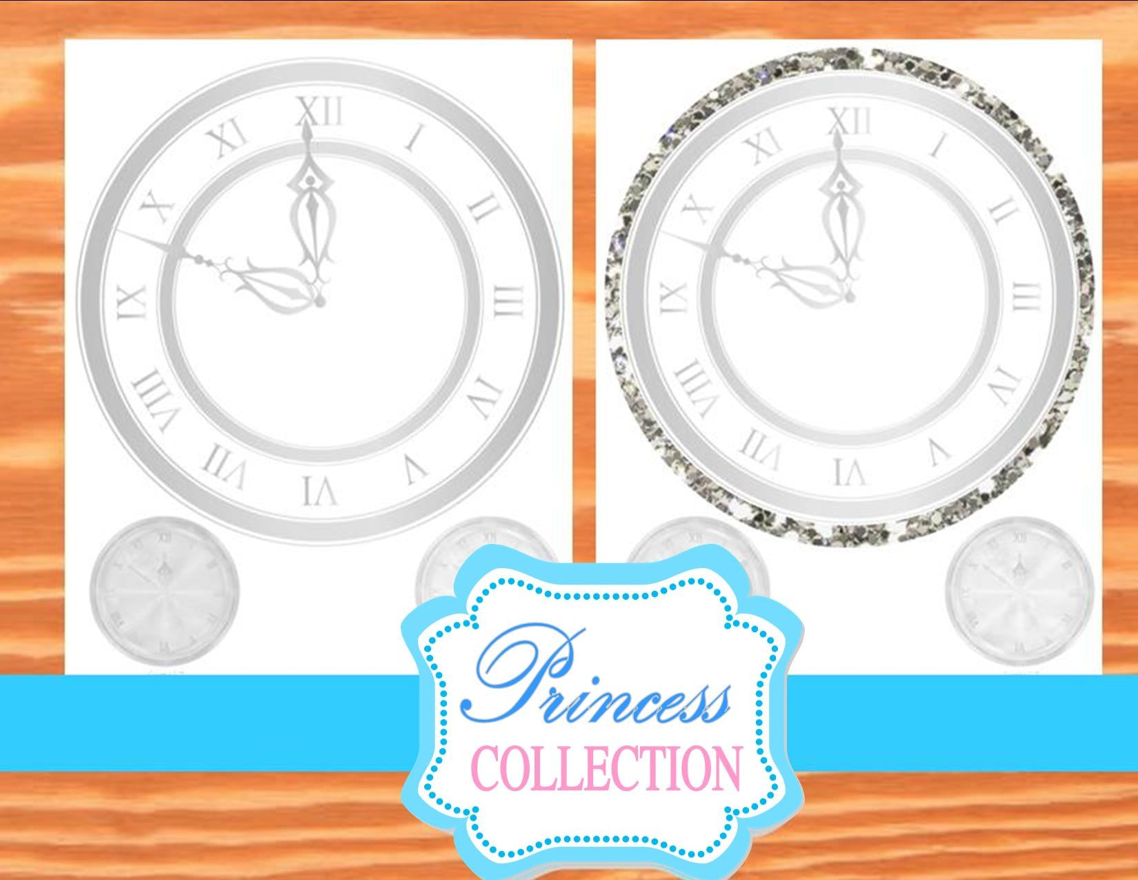 PRINCESS Party- CLOCK- Princess Printables- Birthday