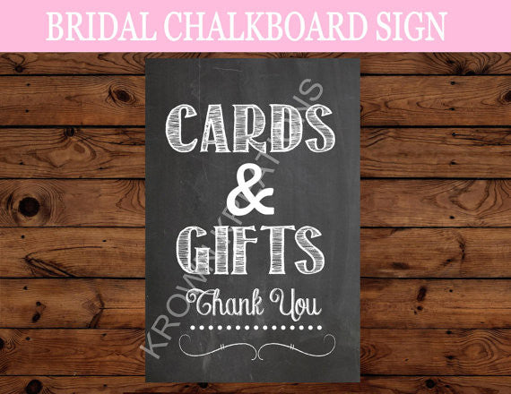 Bridal Shower- Cards & Gifts SIGN- Chalk Board- Wedding Sign- Chalkboard