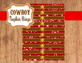 COWBOY Party- Horse Party- Red Cowboy- NAPKIN RINGS- Western Party