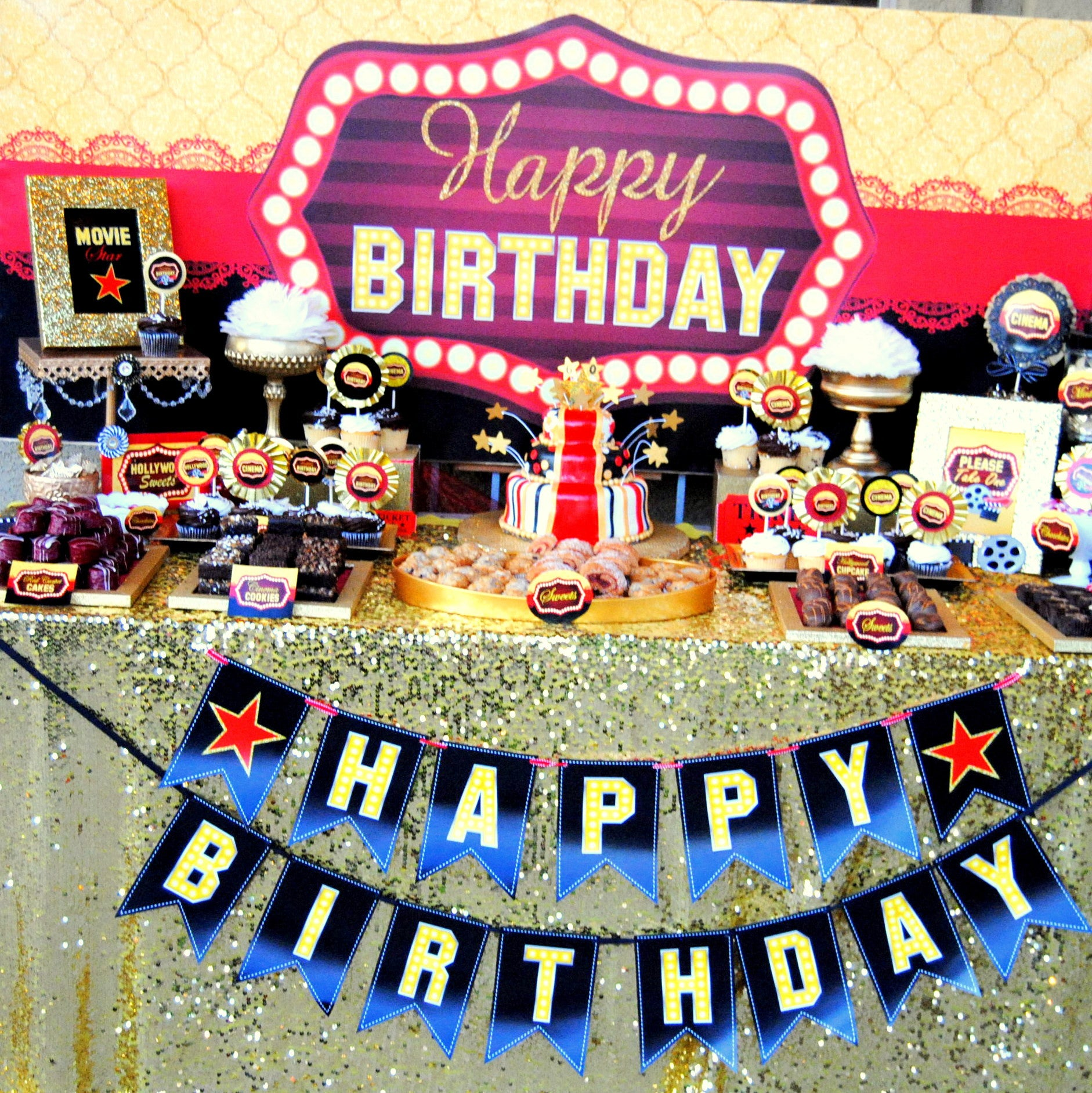 Hollywood Party Movie Coffee Bar Backdrop Coffee Bar Movie Theat Krown Kreations Celebrations