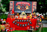 FIREMAN Birthday - Fire Fighter BANNER - Fire Station