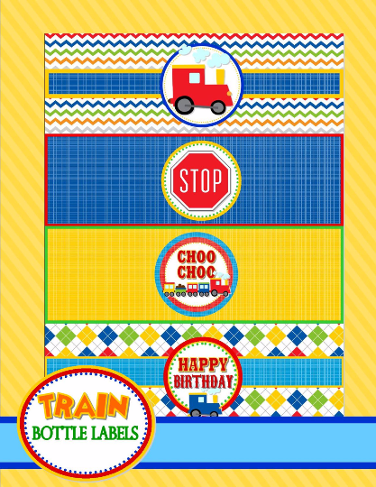 TRAIN Birthday Party - Train BOTTLE LABELS - Train Party