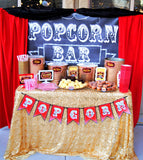 Hollywood PARTY- Movie- POPCORN BAR BANNER- Chalk board