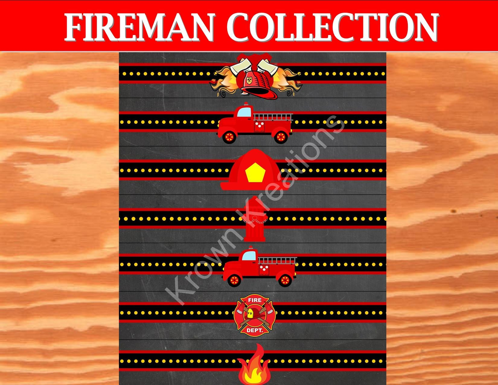 FIRE FIGHTER- NAPKIN RINGS - FIREMAN Party - Fire Truck Party- Fire Department