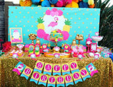 FLAMINGO Party - Pineapple Centerpieces - FLAMINGOS - Flamingo Birthday - Luau Party