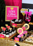 Bridal Shower STRAW FLAGS - Gold Heart - Black and Pink