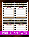 Purple BRIDAL SHOWER- Black and White Striped Shower- Advice Cards