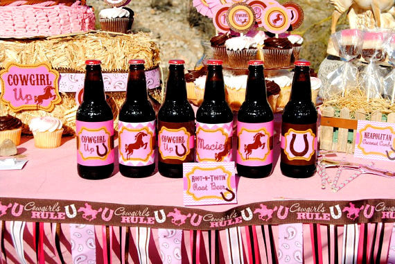 COWGIRL Birthday- Horse Party- Pink Cowgirl Party- BOTTLE LABELS