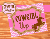 Horse SIGNS- Cowgirl Birthday Party - Pink Cowgirl- Sign