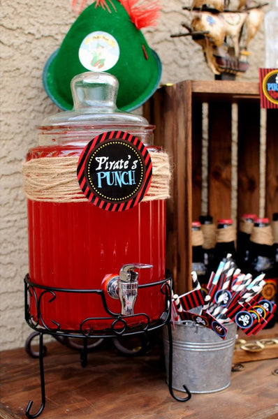 PIRATE Birthday Party - Pirate DRINK BURSTS - Pirate Party- Red Pirate Party- Pirate Decorations - INSTANT DOWNLOAD